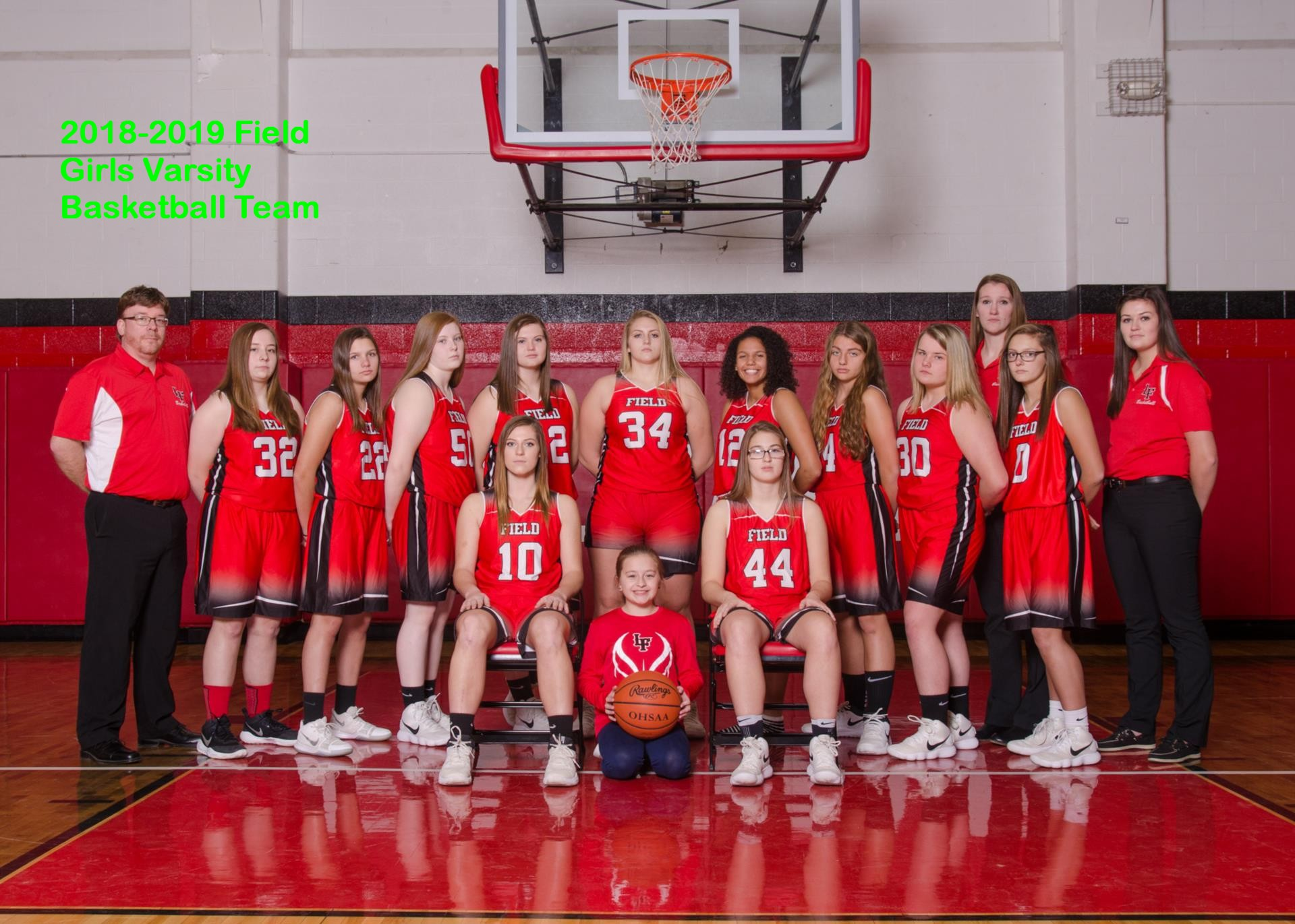 2018 2019 Field Girls Varsity Basketball team.jpgwith text