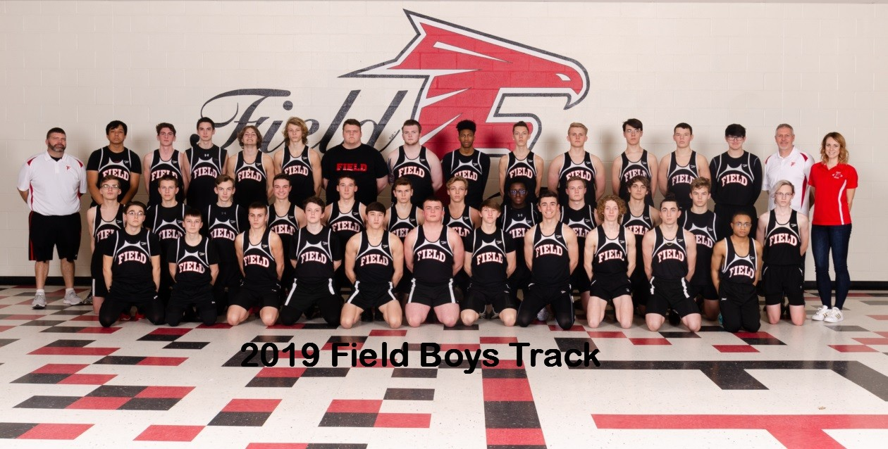 2019 Field Boys Varsity Track team.jpg with text
