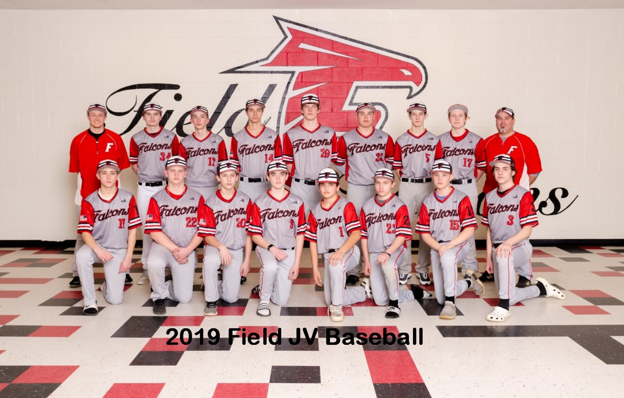 2019 Field JV Baseball team.jpg with text